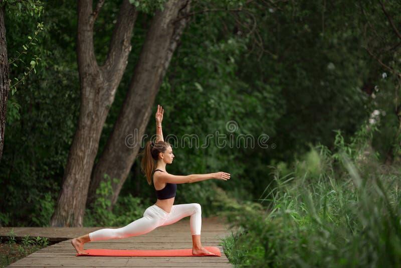 Όμορφο κορίτσι που κάνει τη γιόγκα και που τεντώνει υπαίθρια στο πράσινο πάρκο στοκ εικόνες με δικαίωμα ελεύθερης χρήσης