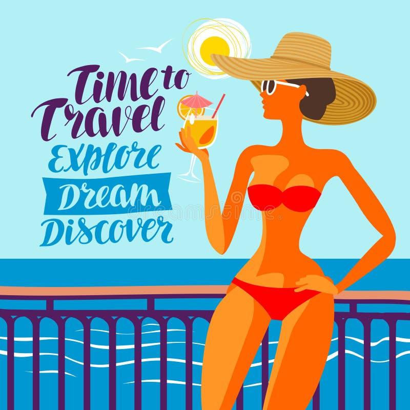 Όμορφο κορίτσι που στηρίζεται στην παραλία, διανυσματική απεικόνιση Ταξίδι, έννοια ταξιδιών ελεύθερη απεικόνιση δικαιώματος