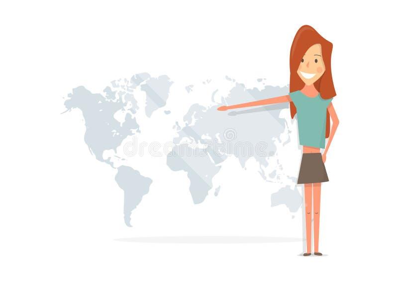 Όμορφο κορίτσι που χαμογελά και που παρουσιάζει στον παγκόσμιο χάρτη διανυσματική απεικόνιση