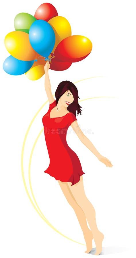 Όμορφο κορίτσι σε ένα κόκκινο φόρεμα με τα φωτεινά μπαλόνια διάνυσμα ελεύθερη απεικόνιση δικαιώματος