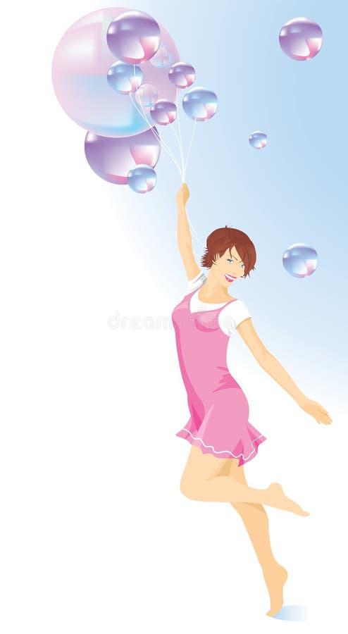Όμορφο κορίτσι σε ένα ρόδινο φόρεμα με τα μπαλόνια ελεύθερη απεικόνιση δικαιώματος