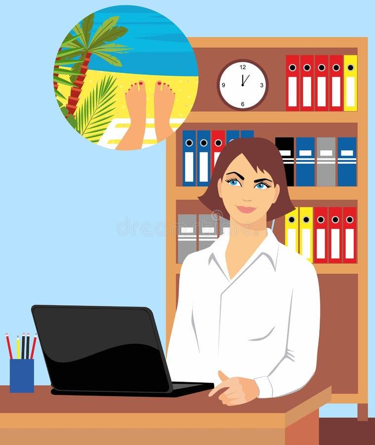 Όμορφο κορίτσι στον εργασιακό χώρο γραφείων που ονειρεύεται για τις διακοπές σε μια παραλία στην τροπική χώρα απεικόνιση αποθεμάτων