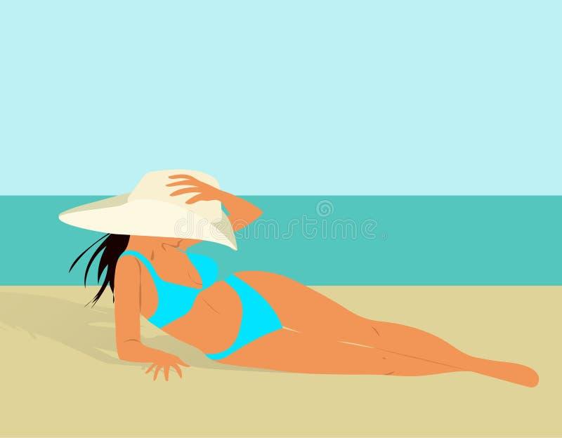 Όμορφο κορίτσι στο μπικίνι και καπέλο σε μια παραλία, μια διανυσματική απεικόνιση, ένα ταξίδι και ένα υπόλοιπο απεικόνιση αποθεμάτων