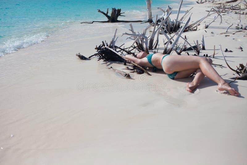 Όμορφο κορίτσι στο μπικίνι που βρίσκεται μεταξύ των ξύλινων αγκαθιών στην παραλία στοκ εικόνες