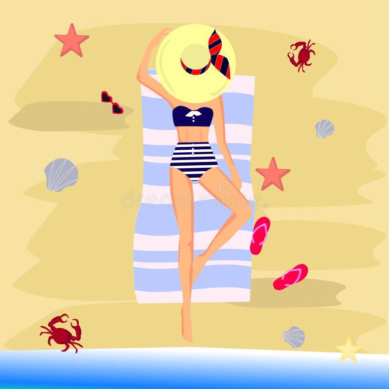 Όμορφο κορίτσι στο μπικίνι σε μια παραλία διανυσματική απεικόνιση