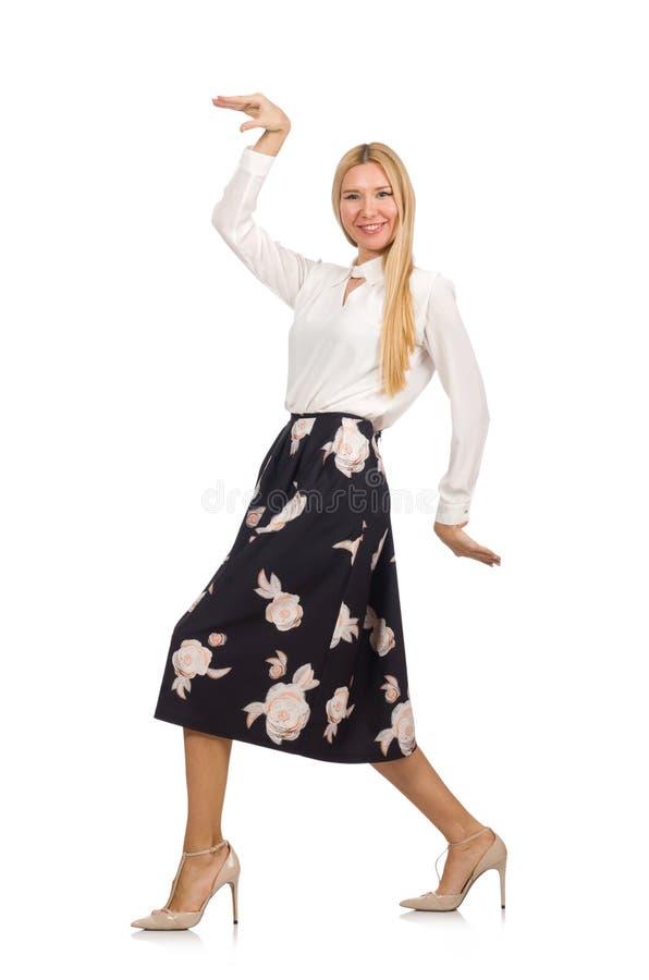 Download Όμορφο κορίτσι φούστα με τα λουλούδια που απομονώνεται στη μαύρη Στοκ Εικόνα - εικόνα από καυκάσιος, πορτρέτο: 62709069