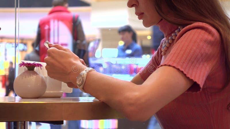 Όμορφο κορίτσι brunette που χρησιμοποιεί το smartphone της σε έναν καφέ Σύγχρονος κινητός τηλεφωνικός εθισμός στοκ φωτογραφία
