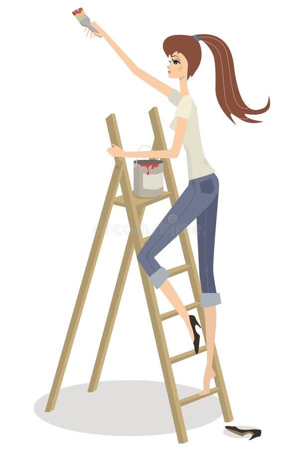 όμορφο κορίτσι stepladder απεικόνιση αποθεμάτων