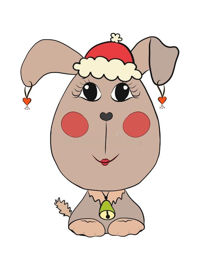 Όμορφο κουτάβι μικρών κοριτσιών σε ένα καπέλο Χριστουγέννων απεικόνιση αποθεμάτων