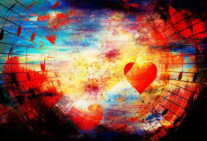 Όμορφο κολάζ με τις καρδιές και τις σημειώσεις μουσικής, που η αγάπη στη μουσική διανυσματική απεικόνιση