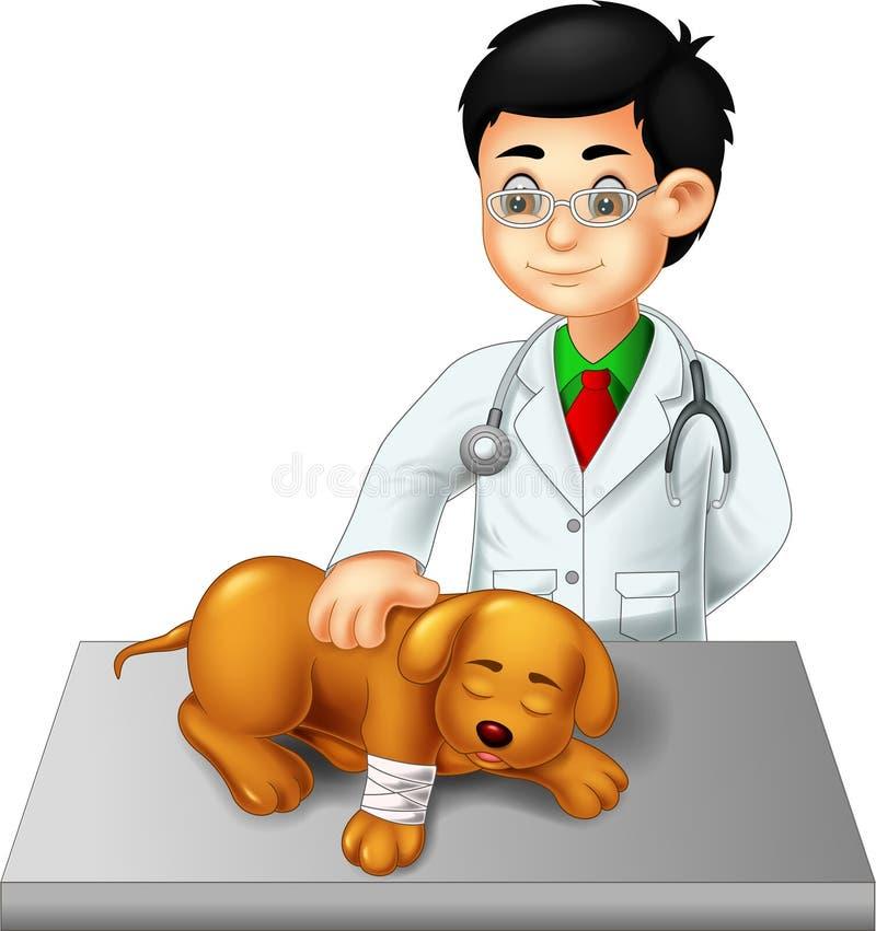 Όμορφο κτηνιατρικό σκυλί ελέγχου κινούμενων σχεδίων με το γέλιο απεικόνιση αποθεμάτων