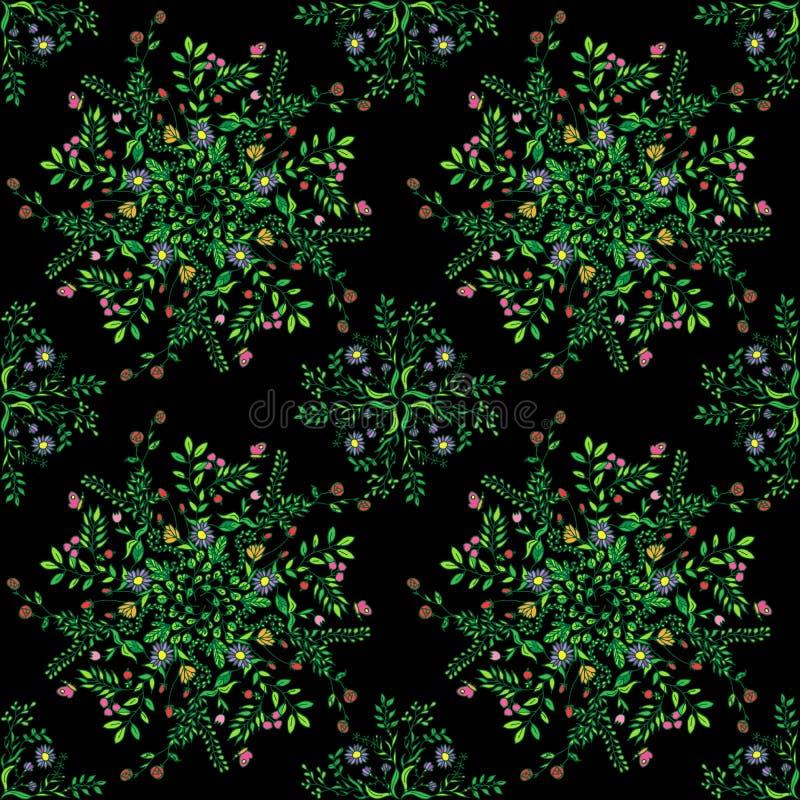 Όμορφο κυκλικό floral άνευ ραφής σχέδιο Διακοσμητικό στρογγυλό σχέδιο δαντελλών, διανυσματική απεικόνιση floral ανθοδέσμη στο α διανυσματική απεικόνιση