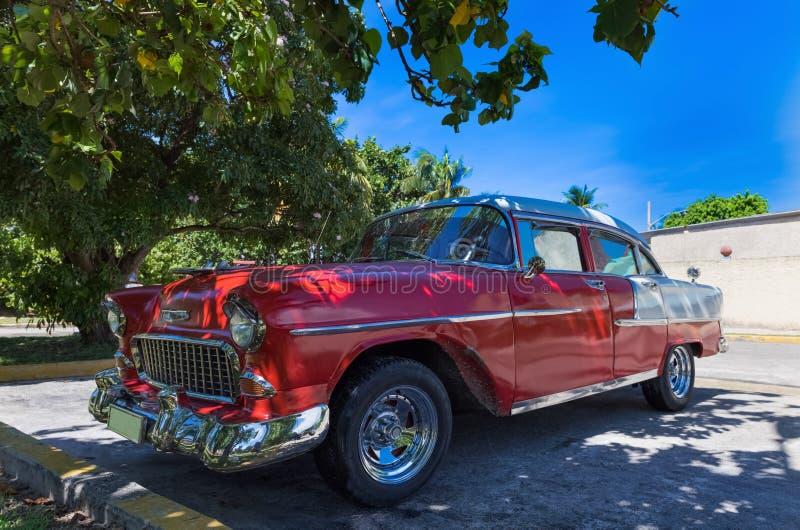 Όμορφο κόκκινο αμερικανικό κλασικό αυτοκίνητο καμπριολέ που σταθμεύουν κάτω από τους φοίνικες στο ρεπορτάζ Varadero - Serie Kuba  στοκ εικόνα