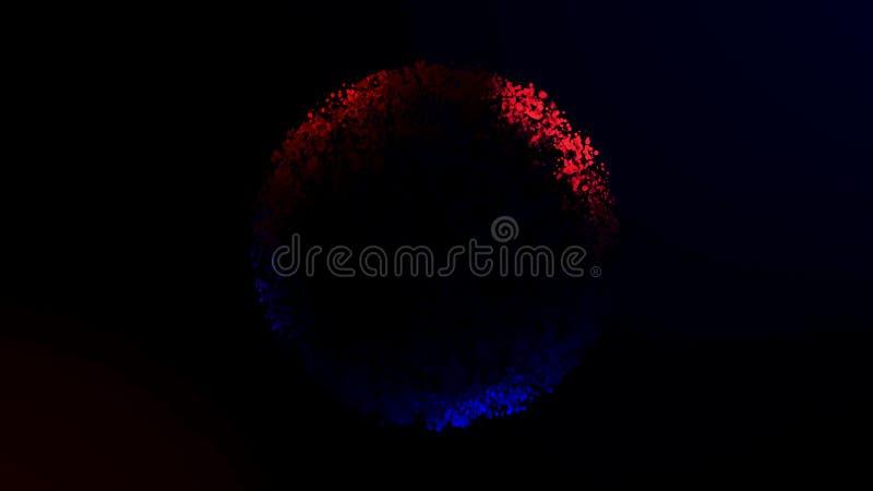 Όμορφο κόκκινο και μπλε δαχτυλίδι των μικρών μορίων που απομονώνεται στο μαύρο υπόβαθρο r Αφηρημένος περιστρεφόμενος ζωηρόχρωμος  ελεύθερη απεικόνιση δικαιώματος