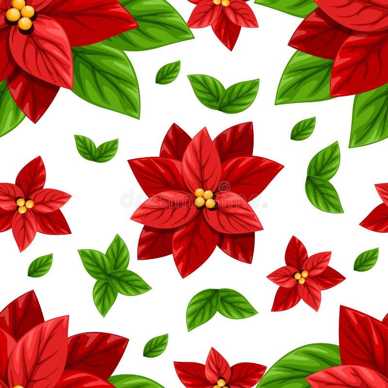 Όμορφο κόκκινο λουλούδι Poinsettia και πράσινη απεικόνιση διακοσμήσεων Χριστουγέννων φύλλων άνευ ραφής που απομονώνονται στα άσπρ διανυσματική απεικόνιση