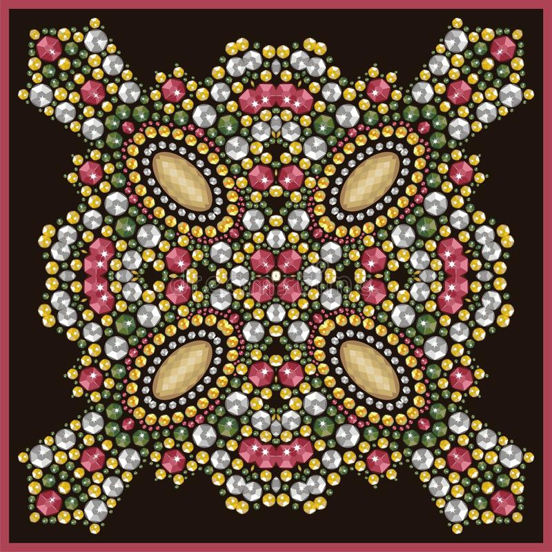 Όμορφο κόσμημα, μενταγιόν, πόρπη, διακόσμηση στο λαιμό, mandala, applique rhinestones διανυσματική απεικόνιση