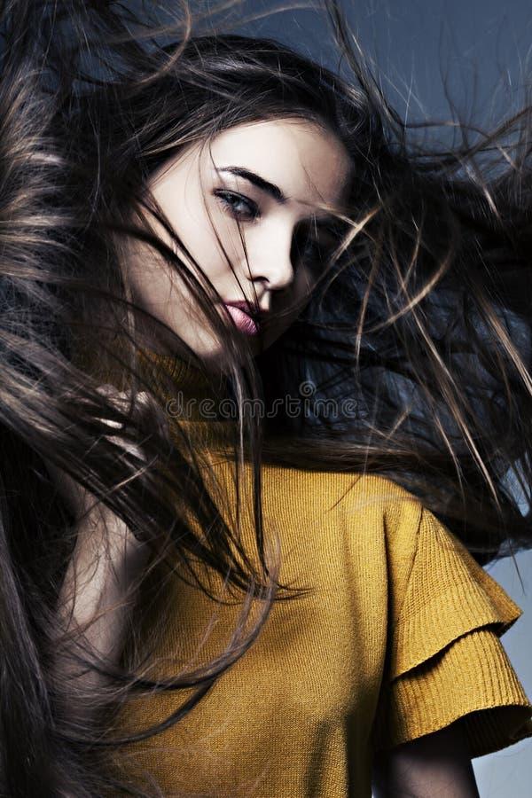 όμορφο μακρύ τέλειο δέρμα τριχώματος κοριτσιών στοκ εικόνα