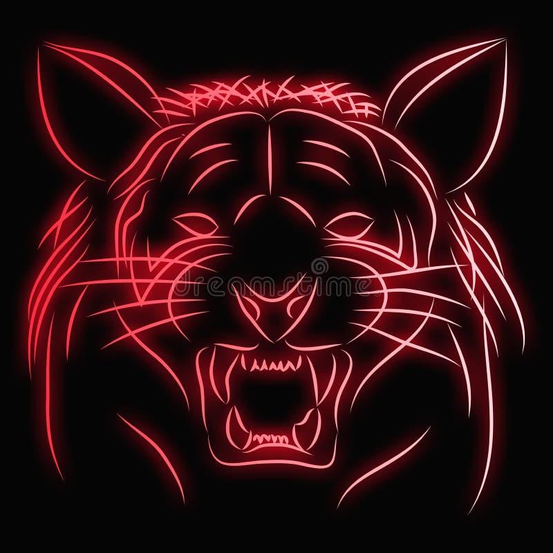 Όμορφο μαύρο υπόβαθρο σχεδίων τιγρών απεικόνιση αποθεμάτων