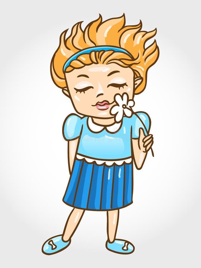 Όμορφο μικρό κορίτσι με ένα διάνυσμα λουλουδιών illustr απεικόνιση αποθεμάτων
