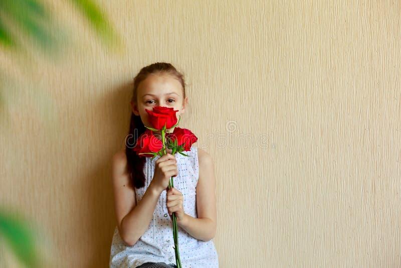 Όμορφο μικρό κορίτσι που κρατά μια ανθοδέσμη των κόκκινων τριαντάφυλλων σε ένα μπεζ υπόβαθρο Η δορά παιχνιδιού - και - επιδιώκει  στοκ εικόνα με δικαίωμα ελεύθερης χρήσης