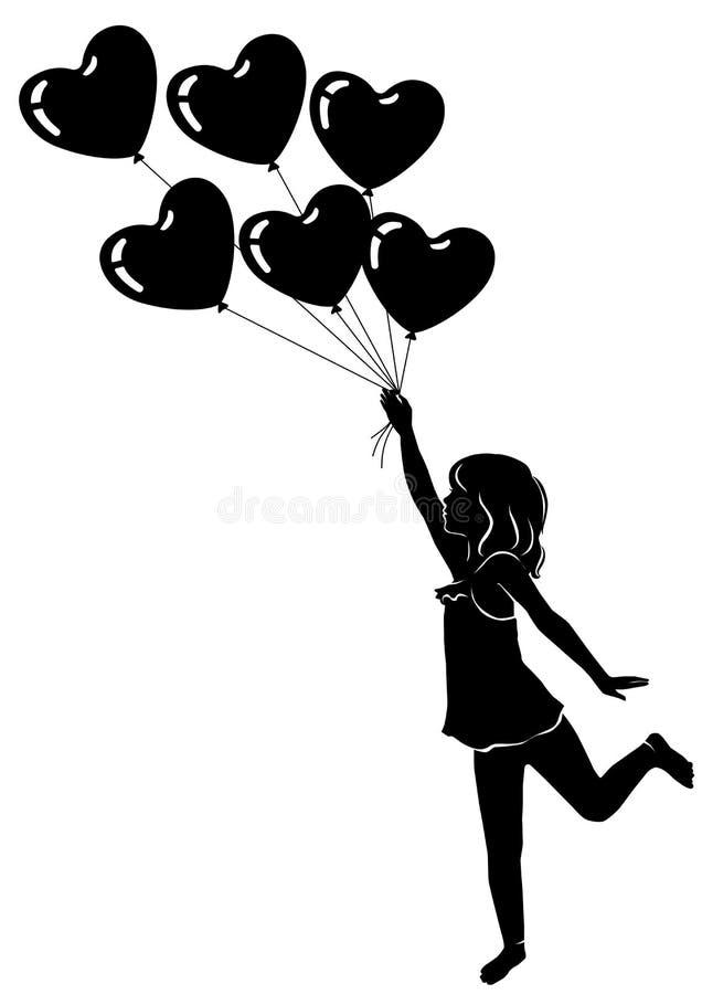 Όμορφο μικρό κορίτσι σκιαγραφιών με τα μπαλόνια καρδιών απεικόνιση αποθεμάτων