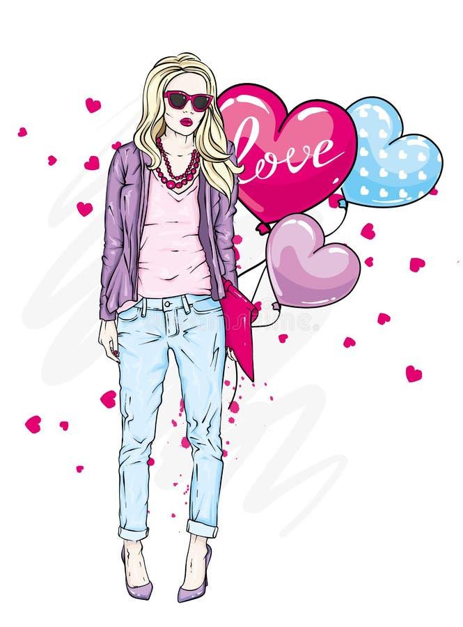 όμορφο μοντέρνο κορίτσι εν Μια μοντέρνη γυναίκα με μακρυμάλλη στο παντελόνι, ένα σακάκι και τα γυαλιά απεικόνιση αποθεμάτων