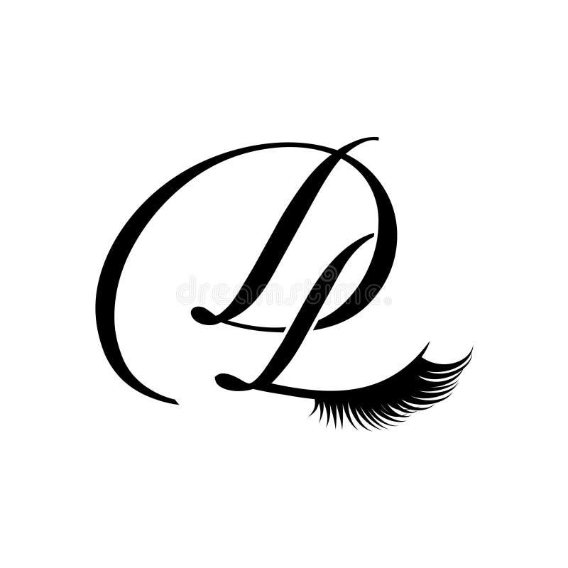 όμορφο μονόγραμμα dl LD δ λ λογότυπων λογότυπων Δ Λ eyelashes απεικόνιση αποθεμάτων