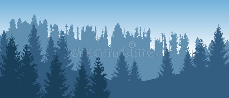 Όμορφο μπλε διανυσματικό δασικό τοπίο με τα κωνοφόρα δέντρα απεικόνιση αποθεμάτων