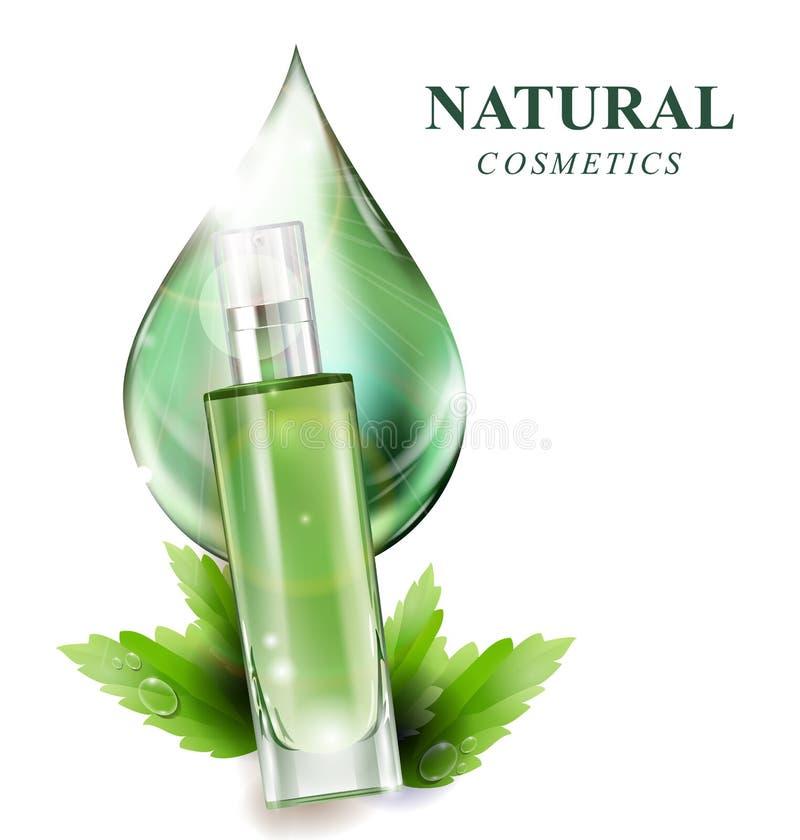 Όμορφο μπουκάλι αρώματος με ένα καλλυντικό προϊόν, λοσιόν, ουσία Η έννοια των φυσικών καλλυντικών διάνυσμα διανυσματική απεικόνιση