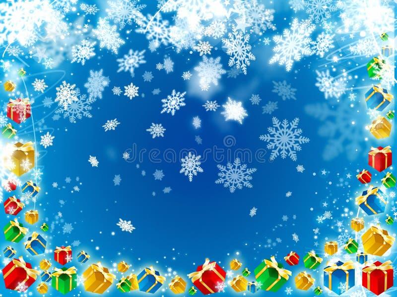 Όμορφο μπλε υπόβαθρο δώρων και snowflakes ελεύθερη απεικόνιση δικαιώματος