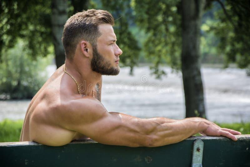 Όμορφο μυϊκό άτομο Hunk γυμνοστήθων υπαίθριο στο πάρκο πόλεων στοκ εικόνα με δικαίωμα ελεύθερης χρήσης
