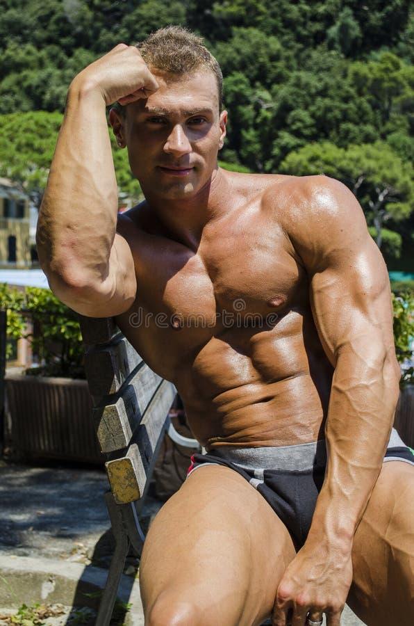 Όμορφο μυϊκό άτομο Hunk γυμνοστήθων υπαίθριο στοκ φωτογραφία
