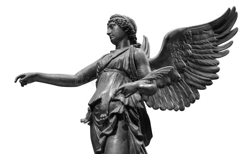 Όμορφο νέο άγαλμα αγγέλου γυναικών που απομονώνεται στο άσπρο υπόβαθρο στοκ φωτογραφία με δικαίωμα ελεύθερης χρήσης
