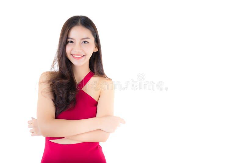Όμορφο νέο ασιατικό χαμόγελο γυναικών του πορτρέτου που απομονώνεται στο άσπρο υπόβαθρο στοκ εικόνες με δικαίωμα ελεύθερης χρήσης