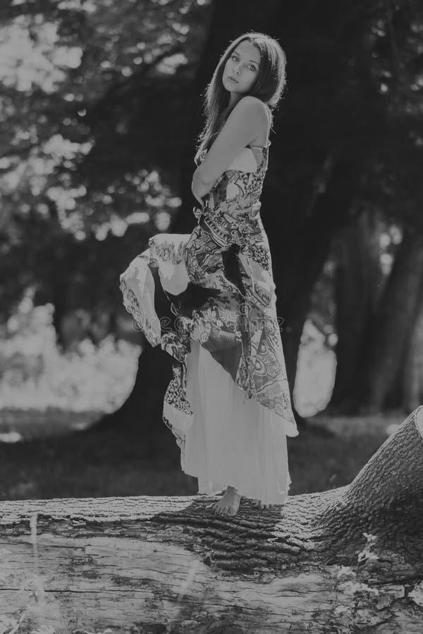 Όμορφο νέο κορίτσι μεταξύ του πάρκου στοκ εικόνα