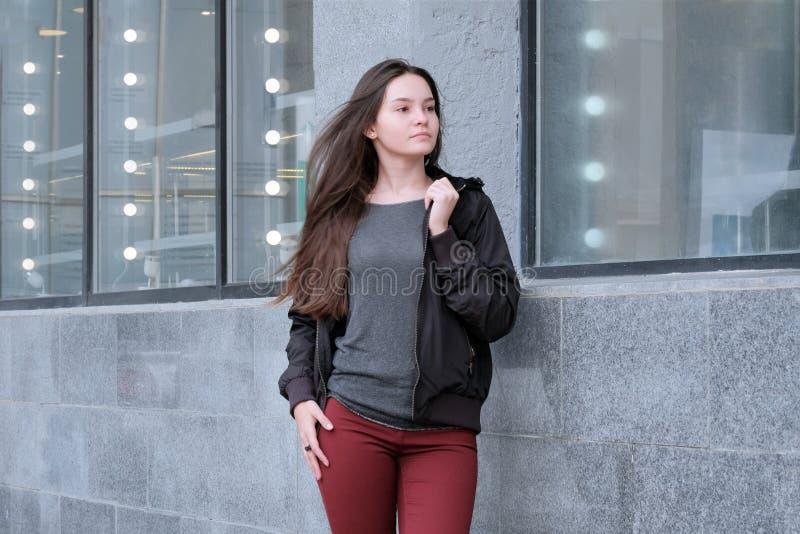 Όμορφο νέο κορίτσι με τη μακρυμάλλη τοποθέτηση στα θερμά ενδύματα το φθινόπωρο Πορτρέτο ενός χαριτωμένου προτύπου brunette σε ένα στοκ εικόνα με δικαίωμα ελεύθερης χρήσης