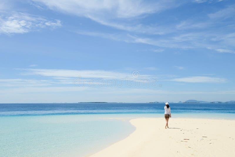 Όμορφο νέο κορίτσι που εξετάζει τον ορίζοντα στην τροπική παραλία στοκ εικόνες