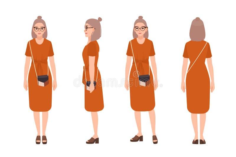 Όμορφο νέο κορίτσι που φορά το περιστασιακό φόρεμα, γυαλιά και με τη διαγώνια σακούλα για μεταφορά πτωμάτων Χαρακτήρας κινουμένων απεικόνιση αποθεμάτων