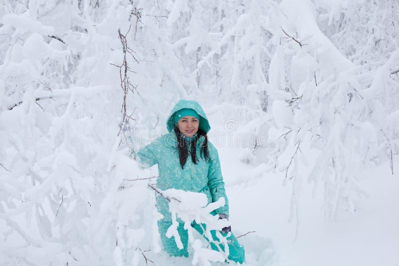 Όμορφο νέο κορίτσι σε ένα χειμερινό δάσος στοκ φωτογραφία