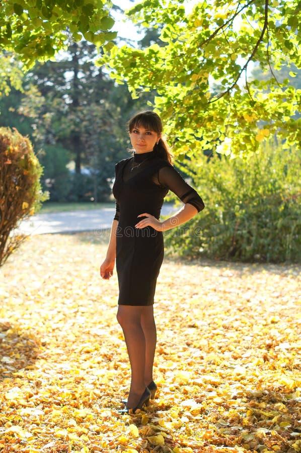 Όμορφο νέο κορίτσι στον περίπατο στο πάρκο στοκ φωτογραφία