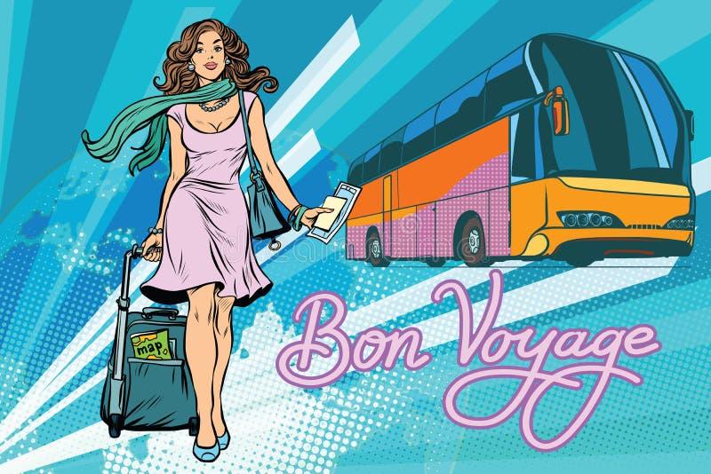 Όμορφο νέο τουριστηκό λεωφορείο επιβατών τουριστών γυναικών ελεύθερη απεικόνιση δικαιώματος