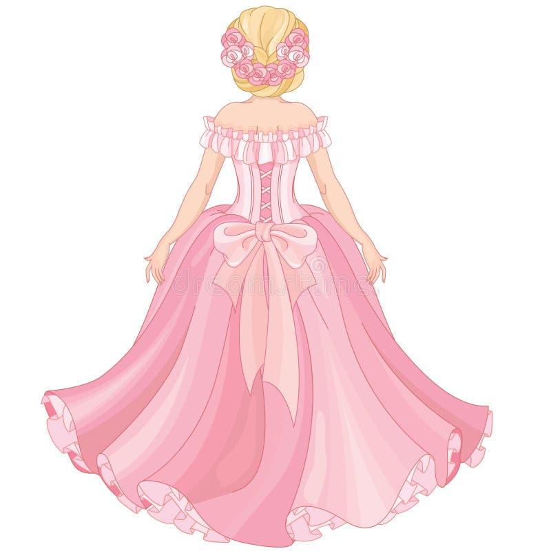 Όμορφο ξανθό κορίτσι στο ρόδινο μακρύ φόρεμα απεικόνιση αποθεμάτων