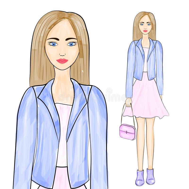 όμορφο ξανθό τρίχωμα κοριτ&sigm Απεικόνιση μόδας διανυσματική απεικόνιση