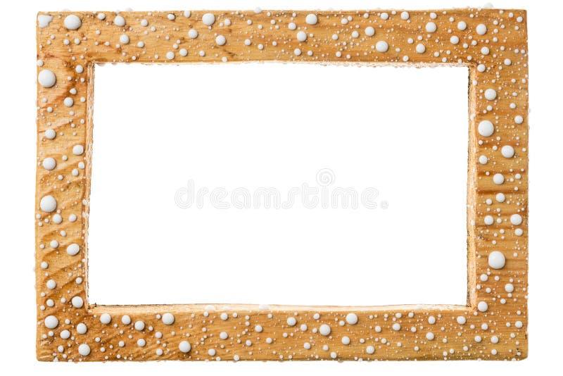 Όμορφο ξύλινο πλαίσιο στις πτώσεις του άσπρου χρώματος η ανασκόπηση απομόνωσε το λευκό στοκ φωτογραφία με δικαίωμα ελεύθερης χρήσης