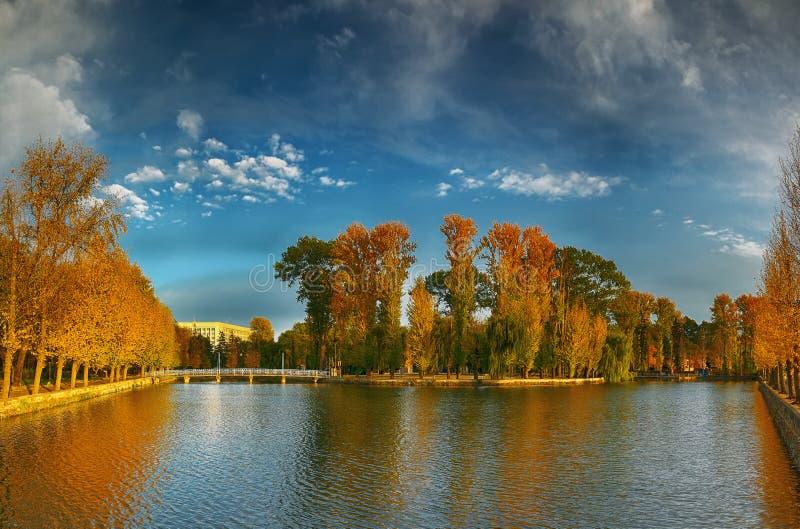 Όμορφο πάρκο φθινοπώρου στον ηλιόλουστο καιρό στοκ φωτογραφία με δικαίωμα ελεύθερης χρήσης