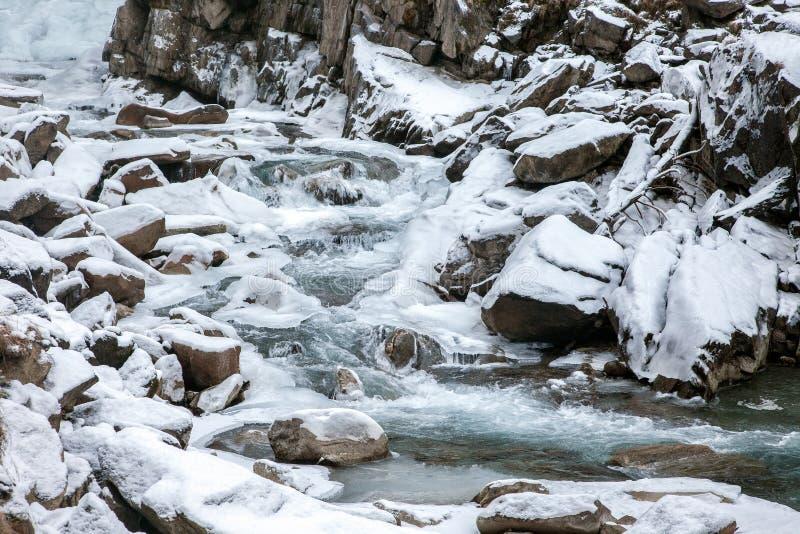 Όμορφο παγωμένο τοπίο στους καταρράκτες Krimml, Αυστρία στοκ φωτογραφίες