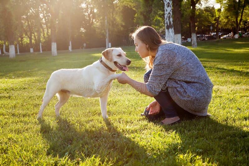 Όμορφο παιχνίδι γυναικών με το σκυλί της στοκ εικόνες
