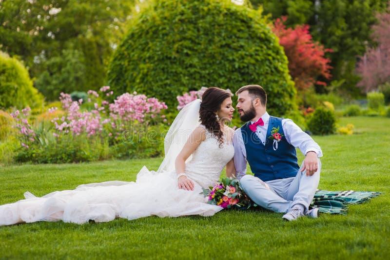 Όμορφο παντρεμένο ζευγάρι που πηγαίνει να φιλήσει στοκ εικόνα με δικαίωμα ελεύθερης χρήσης