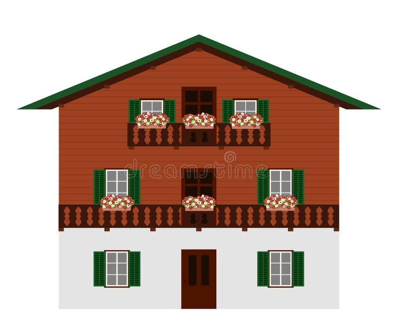 Όμορφο παραδοσιακό αυστριακό ξύλινο ορεινό σπίτι, απομονωμένο Αλπική σαλέ Απεικόνιση διανύσματος διανυσματική απεικόνιση