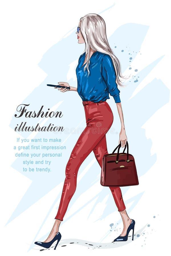 Όμορφο περπάτημα γυναικών μόδας Μοντέρνο κορίτσι μόδας με τα εξαρτήματα διανυσματική απεικόνιση